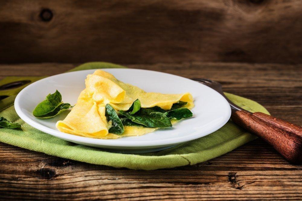 Рецепт омлета со шпинатом и куркумой
