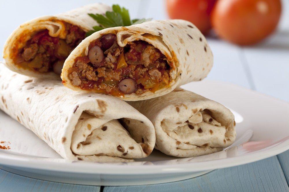 Сочный перекус: буррито с говядиной и фасолью