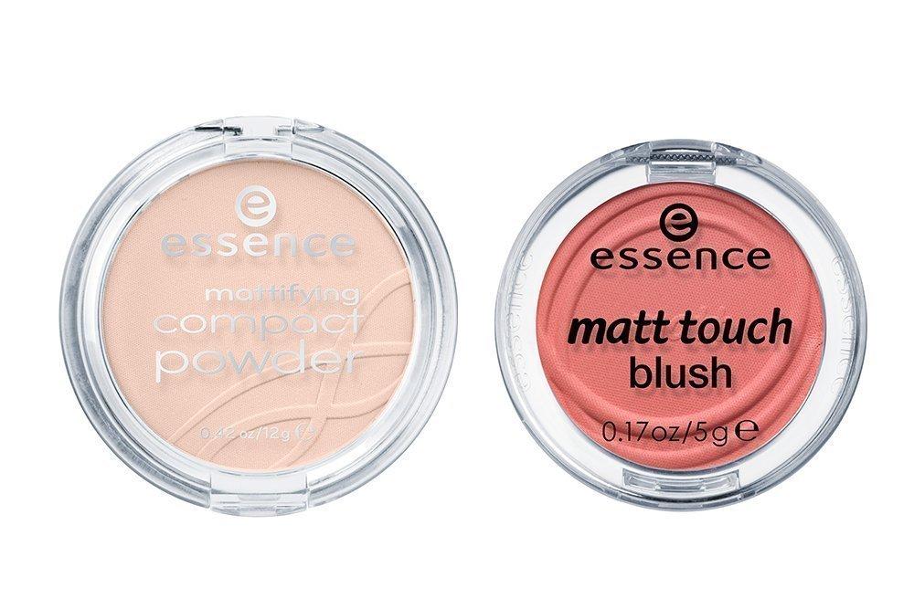Матирующая компактная пудра Essence mattifying compact powder, Матовые румяна Essence matt touch blush