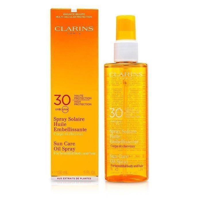 Солнцезащитное масло-спрей для тела и волос SPF 30 Clarins, 150 мл Источник: cosmostore.ru