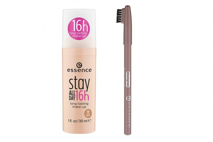 Тональная основа Essence stay all day 16h long-lasting make-up, Карандаш для бровей Essence eyebrow designer