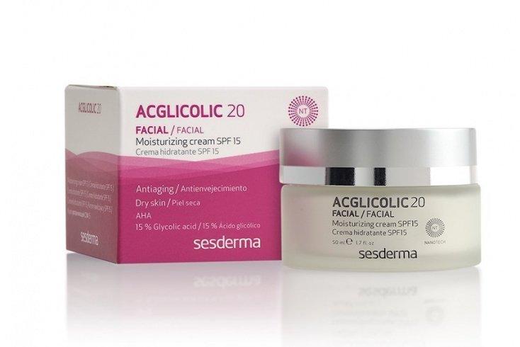 Увлажняющий и обновляющий крем для лица с гликолевой кислотой AcGlicolic20, Sesderma
