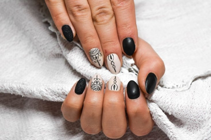 Ахроматическое сочетание: черный, белый и серый на ногтях