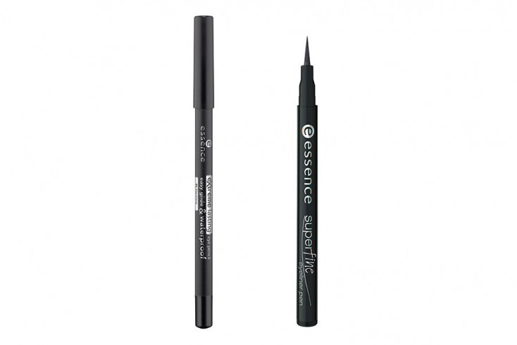Карандаш для глаз Essence extreme lasting eye pencil, Подводка-фломастер для глаз Essence superfine eyeliner pen