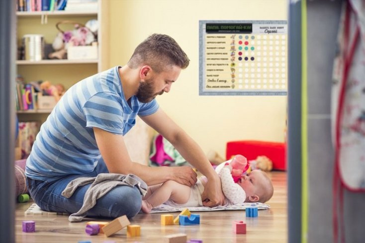 Быт малыша с отцом
