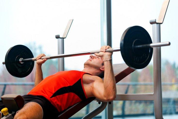 Силовой фитнес дома: жим штанги, приседания, подъемы на бицепс