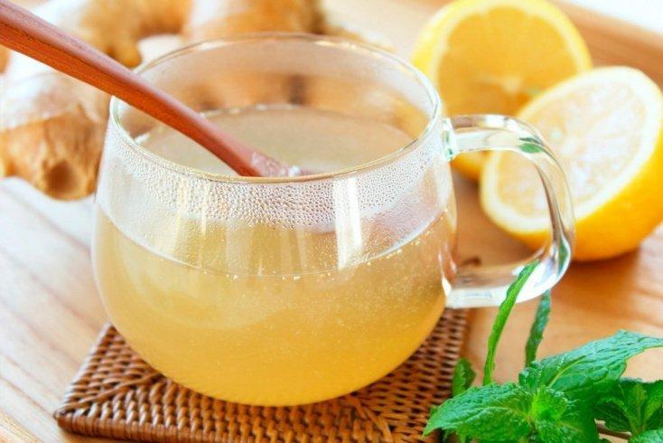 Лимонная вода с огурцом, имбирем и мятой