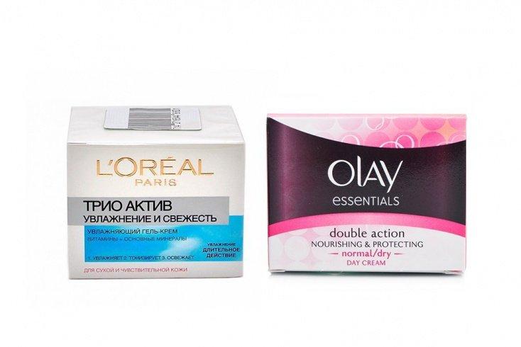 Гель-крем для нормальной и смешанной кожи бренда L`Oreal и дневной увлажняющий крем от Olay