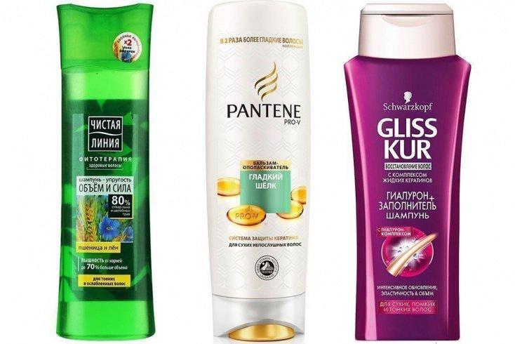 «Объем и сила» от бренда Чистая линия», «Густые и крепкие» от Pantene Pro-V и шампунь Gliss Kur