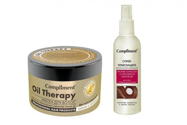Маска для волос Oil Thepary Compliment, Спрей-термозащита против ломкости и секущихся кончиков Compliment