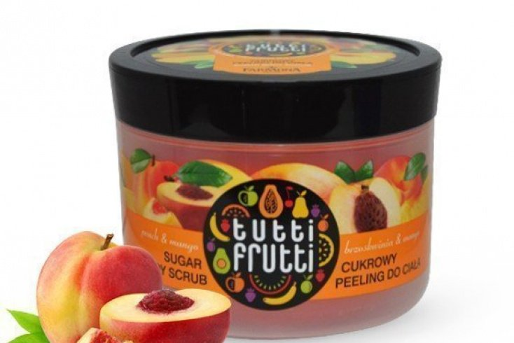 Пилинг сахарный для тела «Персик и манго», Farmona Tutti Frutti Sugar Scrub, 300 г. Источник: krasotaforyou.ru
