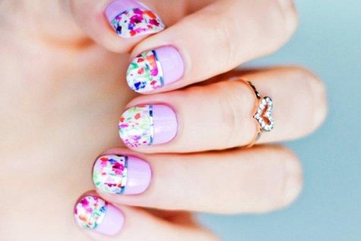 Френч с цветами Источник: дизайн-ногтей-фото.рф